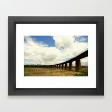 Curved rail bridge across the might Murray River Framed Art Print