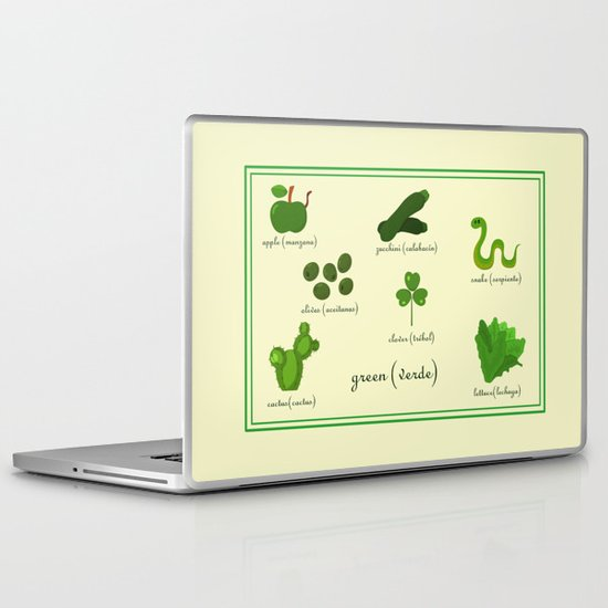 Colors: green (Los colores: verde) Laptop & iPad Skin