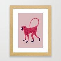 Red Monkey Framed Art Print
