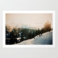 Winter Mountain Hike Art Print