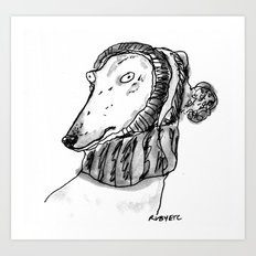 winter greyhound Art Print