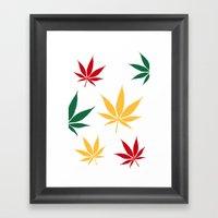 Rasta Color Leaves On Wh… Framed Art Print