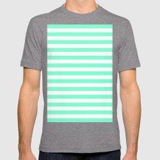 Horizontal Stripes (Aquamarine/White) Mens Fitted Tee Tri-Grey SMALL