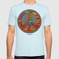 PEACE SKULLS Mens Fitted Tee Light Blue SMALL