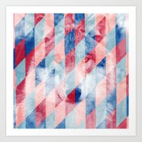 Red Blue Abstract Geometric Pattern Gray Wolf Head Art Print
