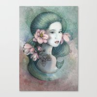Magnolias In This Dusk Canvas Print