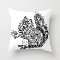 Squirrel In Black & Whit… Throw Pillow