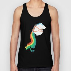 Fat Unicorn on Rainbow Jetpack Unisex Tank Top