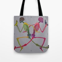 Running Skeleton With Ba… Tote Bag