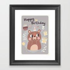 Happy Birthday Bear! Framed Art Print
