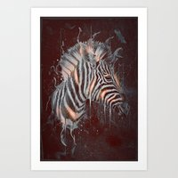 DARK ZEBRA Art Print