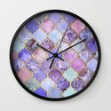 Royal Purple, Mauve & Indigo Decorative Moroccan Tile Pattern Wall Clock