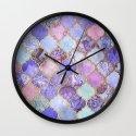 Royal Purple, Mauve & Indigo Decorative Moroccan Tile Pattern Wall Clock