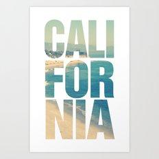 California Vintage Beach Summer Typography Art Print