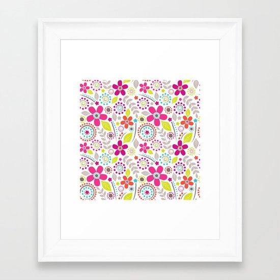 Inky Floral Framed Art Print