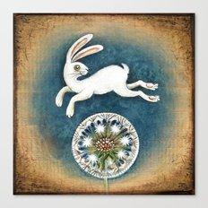 Rabbit with dandelion Canvas Print