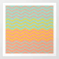 Colorful Chevron On Peac… Art Print