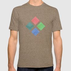 Watercolor geometric pattern Mens Fitted Tee Tri-Coffee SMALL