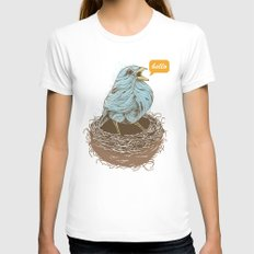 Twisty Bird Womens Fitted Tee White SMALL