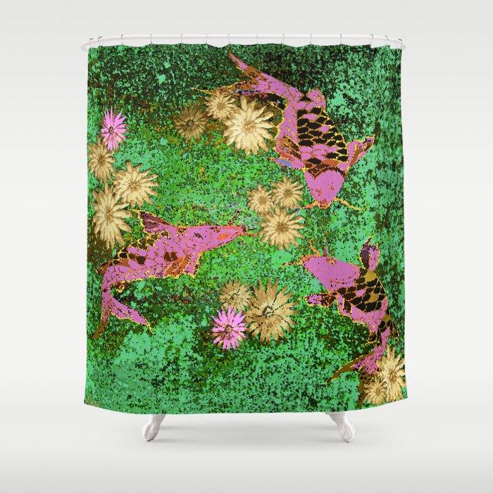 Koi fish pink shower curtain by saundra myles society6 for Koi fish bathroom decorations