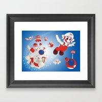 Super Fly Skull Mario Framed Art Print