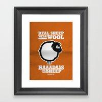 Baaadass the Sheep: Real Sheep Wear Wool Framed Art Print