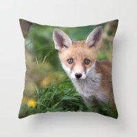 Fox Cub Throw Pillow