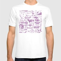 Retro Dinner - White Mens Fitted Tee White SMALL
