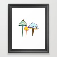Cute Mushrooms. Framed Art Print