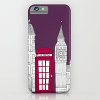 iPhone & iPod Case featuring Night Sky // London Red Telephone Box by bluebutton studio