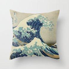 The Great Wave off Kanagawa Throw Pillow