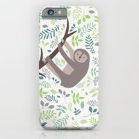 Happy Sloth with Leaves Illsutration iPhone 6 Slim Case