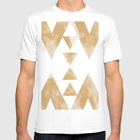 MOON MUSTARD Mens Fitted Tee White SMALL