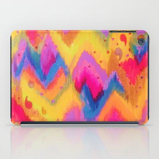 BOLD QUOTATION - Bright Vibrant Neon Quote Chevron Pattern Ikat Rainbow Trendy Design Fun Art iPad Case