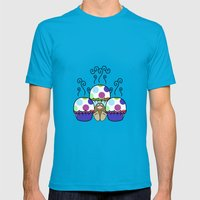 Cute Monster With Pink And Blue Polkadot Cupcakes Mens Fitted Tee Teal SMALL
