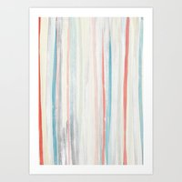 Art Print featuring Painterly Stripes by Laura Cartwright
