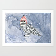 OWL IN CAP Art Print