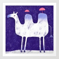 Camel In Wintry Mix With… Art Print