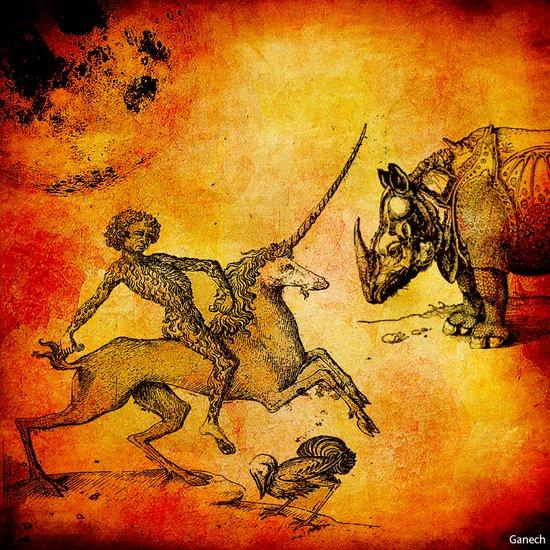The fight of the unicorn Art Print