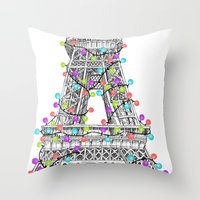 Paris Eiffel Tower Holiday Lights Multi Throw Pillow