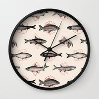 Fishes In Geometrics (Red) Wall Clock
