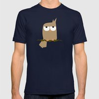 owl on a tree Mens Fitted Tee Navy SMALL