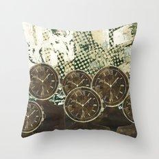 Clock Watchers Throw Pillow