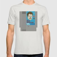 Ron Swanson VS. The IRS Mens Fitted Tee Silver SMALL