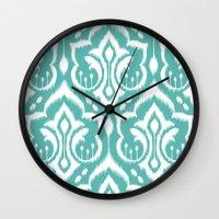 Ikat Damask Aqua Wall Clock