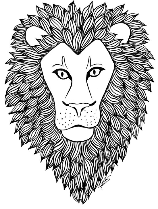 lion head black and white zentangle drawing