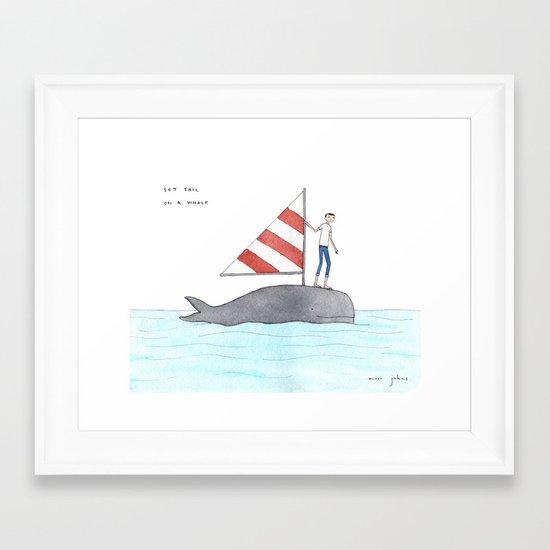set sail on a whale Framed Art Print