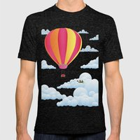 Picnic In A Balloon On A… Mens Fitted Tee Tri-Black SMALL