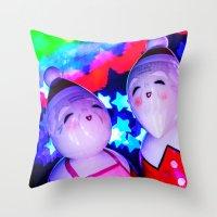 Merry Kokeshi Klause Throw Pillow