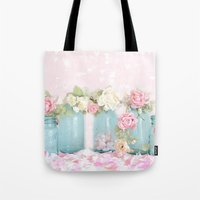 Shabby Chic Aqua Pink Ro… Tote Bag